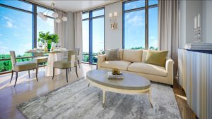 Oro Condos Living Room Rendering